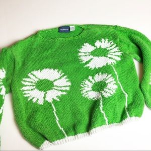 Vintage Knit Daisy Flower Cropped Sweater